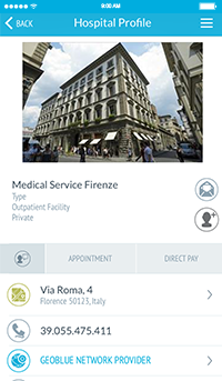 GeoBlue App Hospital Profile Screenshot